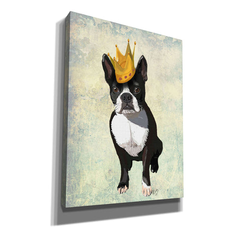 'Boston Terrier and Crown' by Fab Funky, Canvas Wall Art