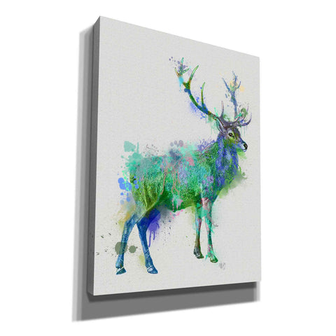 'Deer 1 Rainbow Splash Green Blue' by Fab Funky Canvas Wall Art