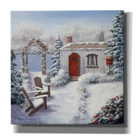 Image of 'Winter Cottage on the Lake' by Barbara Felisky, Giclee Canvas Wall Art