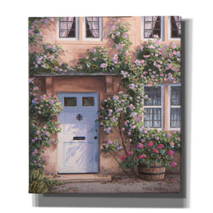 'White Door with Pink Roses' by Barbara Felisky, Giclee Canvas Wall Art