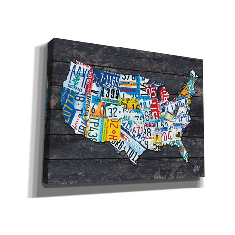 Image of 'USA License Plate Map' by Britt Hallowell, Canvas Wall Art,Size B Landscape