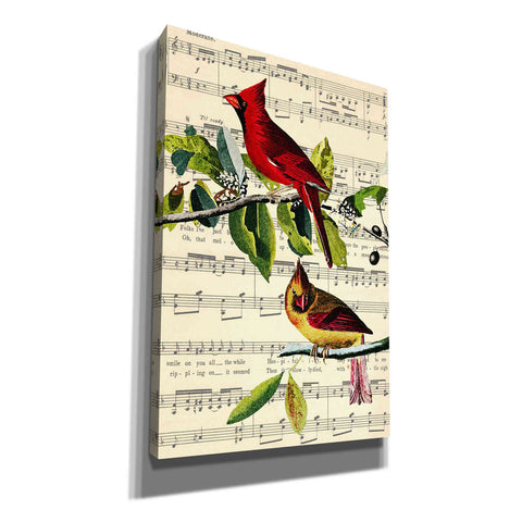 Image of 'The Cardinal Sings' by John James Audubon, Canvas Wall Art,12 x 18