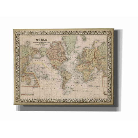 'Mitchell's World Map' by Mitchell Giclee Canvas Wall Art