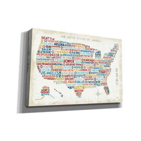 'US City Map' by Michael Mullan, Giclee Canvas Wall Art