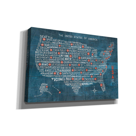 'US City Map on Wood Blue' by Michael Mullan, Giclee Canvas Wall Art