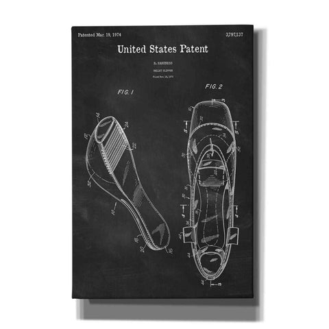 Image of 'Ballet Slippers Blueprint Patent Chalkboard' Canvas Wall Art,Size A Portrait