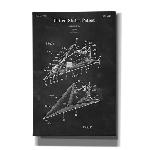 'F-117 Nighthawk Stealth Fighter Blueprint Patent Chalkboard' Giclee Canvas Wall Art