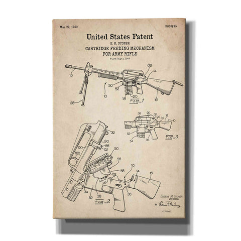 """Ammunition Feeder for Army Rifle Blueprint Patent Parchment"" Giclee Canvas Wall Art"