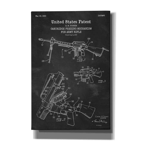 """Ammunition Feeder for Army Rifle Blueprint Patent Chalkboard"" Giclee Canvas Wall Art"