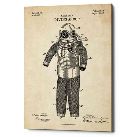 "Image of ""Diving Armor Blueprint Parchment Patent"" Giclee Canvas Wall Art"