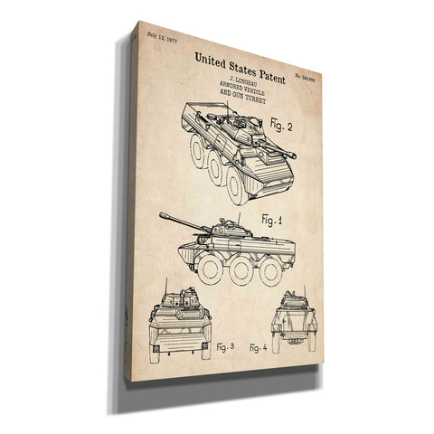"""Armored Vehicle Blueprint Patent Parchment"" Giclee Canvas Wall Art"