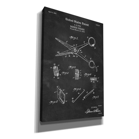 """Barber Shears Blueprint Patent Chalkboard"" Giclee Canvas Wall Art"