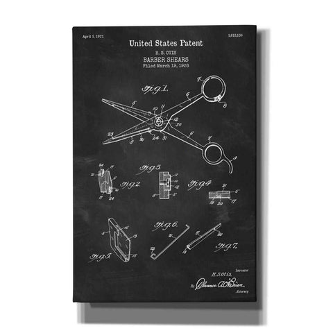 "Image of ""Barber Shears Blueprint Patent Chalkboard"" Giclee Canvas Wall Art"