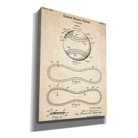 Image of 'Baseball Vintage Patent Blueprint' Canvas Wall Art