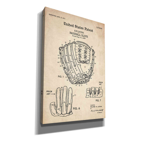 'Baseball Glove, 1971, Blueprint Patent Parchment' Canvas Wall Art