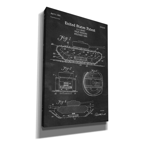 """Self-Digging Military Tank Blueprint Patent Chalkboard"" Giclee Canvas Wall Art"