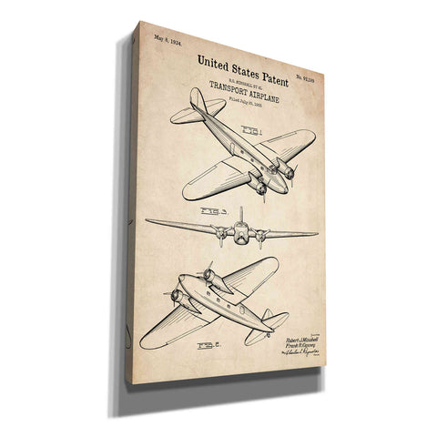 """Double Decker Airplane Blueprint Patent Parchment"" Giclee Canvas Wall Art"