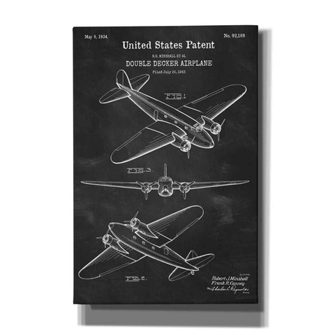 """Double Decker Airplane Blueprint Patent Chalkboard"" Giclee Canvas Wall Art"