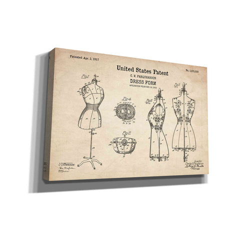 "Image of ""Dress Form Blueprint Patent Parchment"" Giclee Canvas Wall Art"