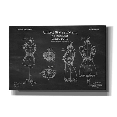 "Image of ""Dress Form Blueprint Patent Chalkboard"" Giclee Canvas Wall Art"