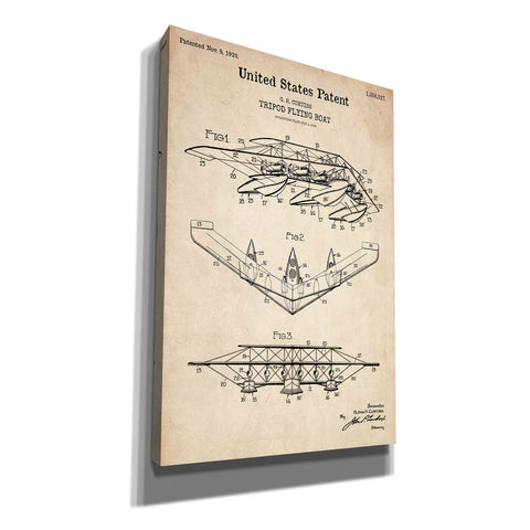 """Tripod Flying Boat Blueprint Patent Parchment"" Giclee Canvas Wall Art"