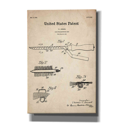 """Hair Straightening Iron Blueprint Patent Parchment"" Giclee Canvas Wall Art"