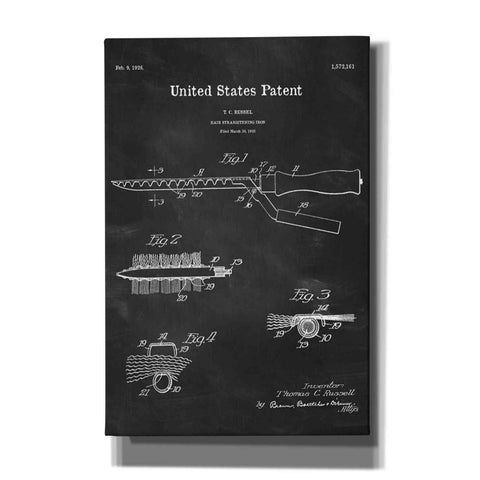 "Image of ""Hair Straightening Iron Blueprint Patent Chalkboard"" Giclee Canvas Wall Art"