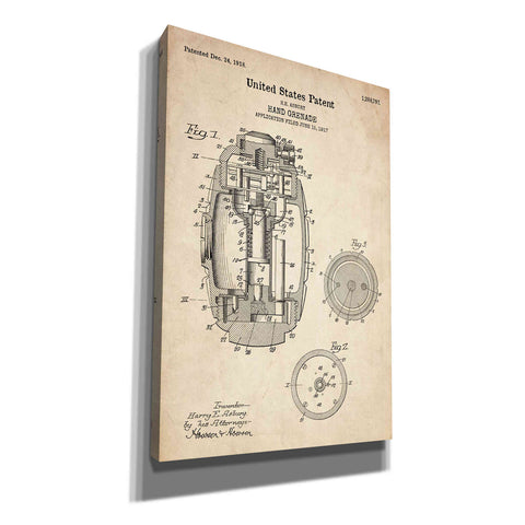 """Hand Grenade Blueprint Patent Parchment"" Giclee Canvas Wall Art"