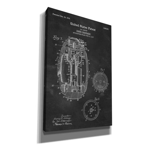 """Hand Grenade Blueprint Patent Chalkboard"" Giclee Canvas Wall Art"