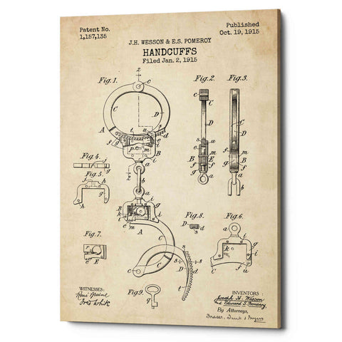 "Image of ""Handcuffs Blueprint Patent Parchment"" Giclee Canvas Wall Art"