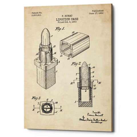 "Image of ""Lipstick Case Blueprint Parchment Patent"" Giclee Canvas Wall Art"
