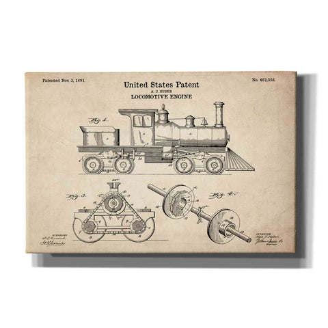 """Locomotive Engine Blueprint Patent Parchment"" Giclee Canvas Wall Art"