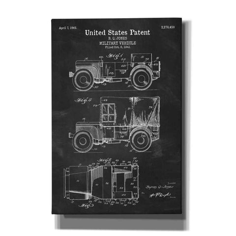 """Military Vehicle Blueprint Patent Chalkboard"" Giclee Canvas Wall Art"