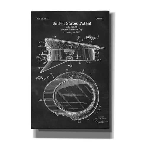 "Image of ""Police Uniform Cap Blueprint Patent Chalkboard"" Giclee Canvas Wall Art"
