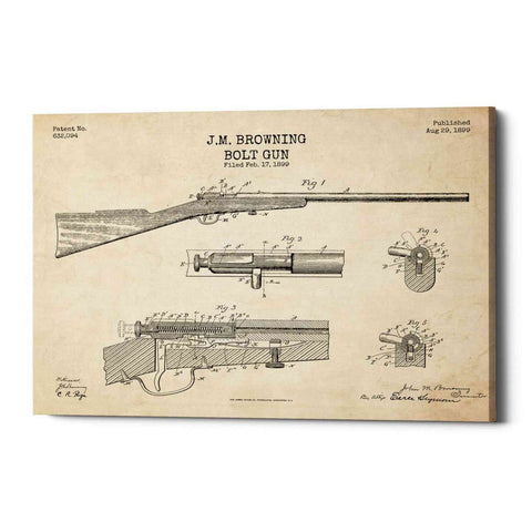 """Rifle Blueprint Patent Parchment"" Giclee Canvas Wall Art"
