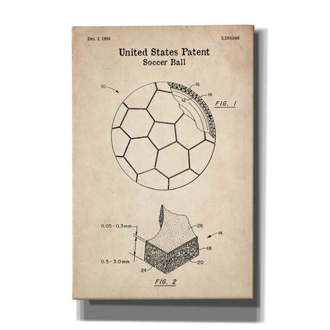 Image of 'Soccer Ball Blueprint Patent Parchment' Canvas Wall Art