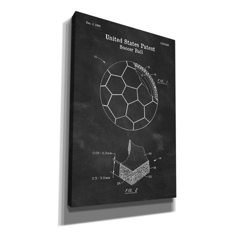 Image of 'Soccer Ball Blueprint Patent Chalkboard' Canvas Wall Art