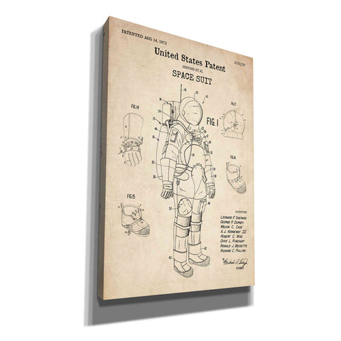 "Image of ""Space Suit Blueprint Patent Parchment"" Giclee Canvas Wall Art"