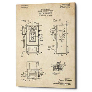 """Telephone, 1959 Blueprint Patent Parchment"" Giclee Canvas Wall Art"