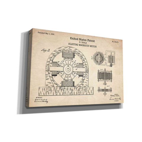 """Tesla Electro Magnetic Motor Blueprint Patent Parchment"" Giclee Canvas Wall Art"