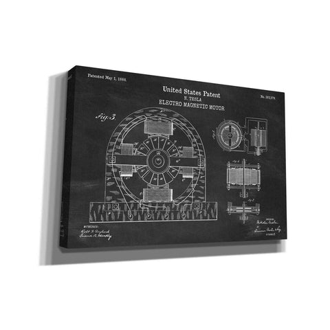 """Tesla Electro Magnetic Motor Blueprint Patent Chalkboard"" Giclee Canvas Wall Art"