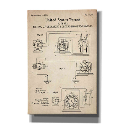"""Operating Tesla Motor Blueprint Patent Parchment"" Giclee Canvas Wall Art"