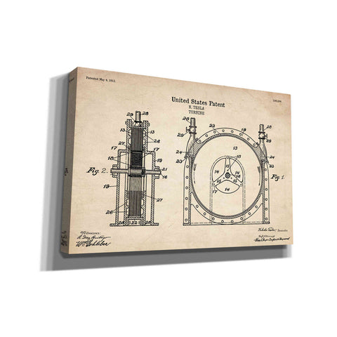 "Image of ""Tesla Turbine Blueprint Patent Parchment"" Giclee Canvas Wall Art"