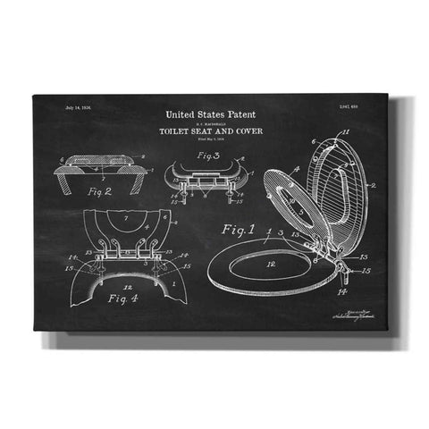 """Toilet Seat Cover Blueprint Patent Chalkboard"" Giclee Canvas Wall Art"