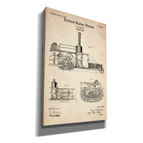 """Tractor Blueprint Patent Parchment"" Giclee Canvas Wall Art"