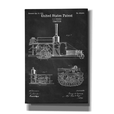 """Tractor Blueprint Patent Chalkboard"" Giclee Canvas Wall Art"