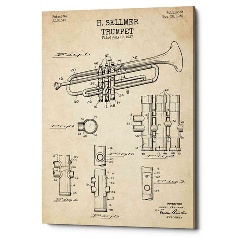 "Image of ""Trumpet Blueprint Patent Parchment"" Giclee Canvas Wall Art"