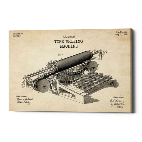 """Type Writing Machine Blueprint Patent Parchment"" Giclee Canvas Wall Art"