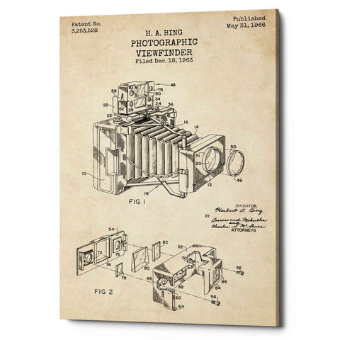 """Photographic Viewfinder Blueprint Patent Parchment"" Giclee Canvas Wall Art"