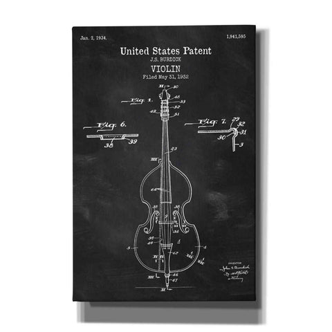 """Violin Blueprint Patent Chalkboard"" Giclee Canvas Wall Art"